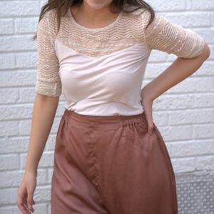 Cream Lace Yoke Sleeve Top